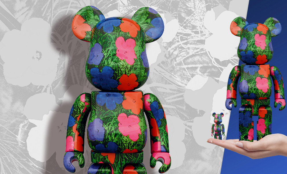 "Gallery Feature Image of Be@rbrick Andy Warhol ""Flowers"" 100% and 400% Collectible Set - Click to open image gallery"