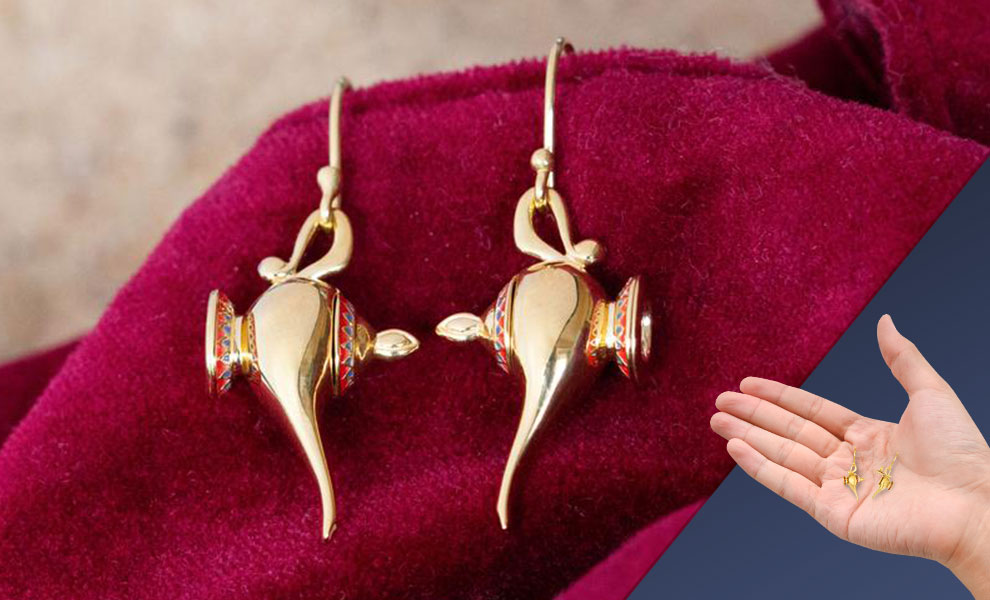 Gallery Feature Image of Hinged Magic Lamp Earrings Jewelry - Click to open image gallery