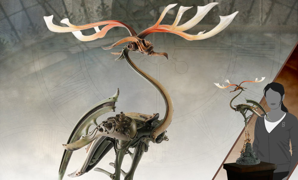 Gallery Feature Image of Bronze Crane with Antlers Statue - Click to open image gallery