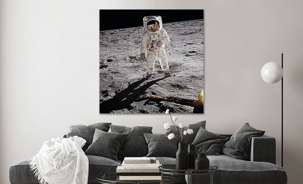 Gallery Feature Image of Buzz Aldrin. Apollo 11. 'A Man on the Moon' Art Print - Click to open image gallery