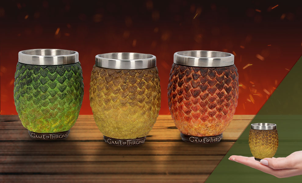 Gallery Feature Image of Drogon, Rhaegal, Viserion Dragon Egg Shot Glasses Collectible Drinkware - Click to open image gallery