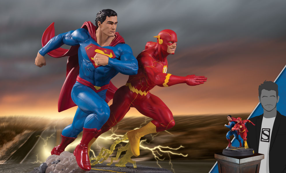 Gallery Feature Image of Superman vs. The Flash Racing Statue - Click to open image gallery