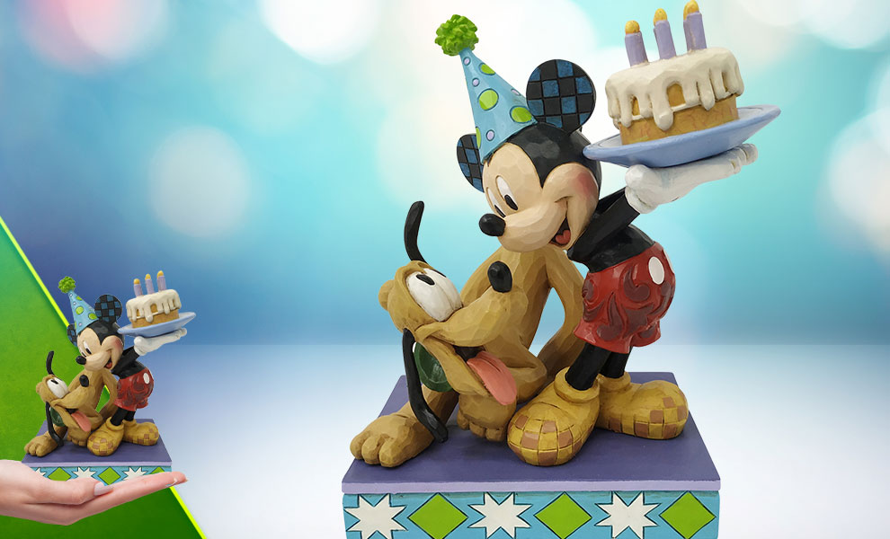 Gallery Feature Image of Pluto & Mickey Birthday Figurine - Click to open image gallery