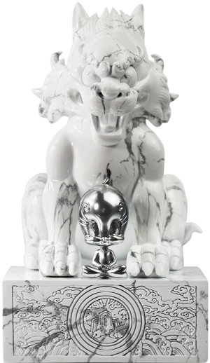 Sylvester and Tweety White Marble Statue