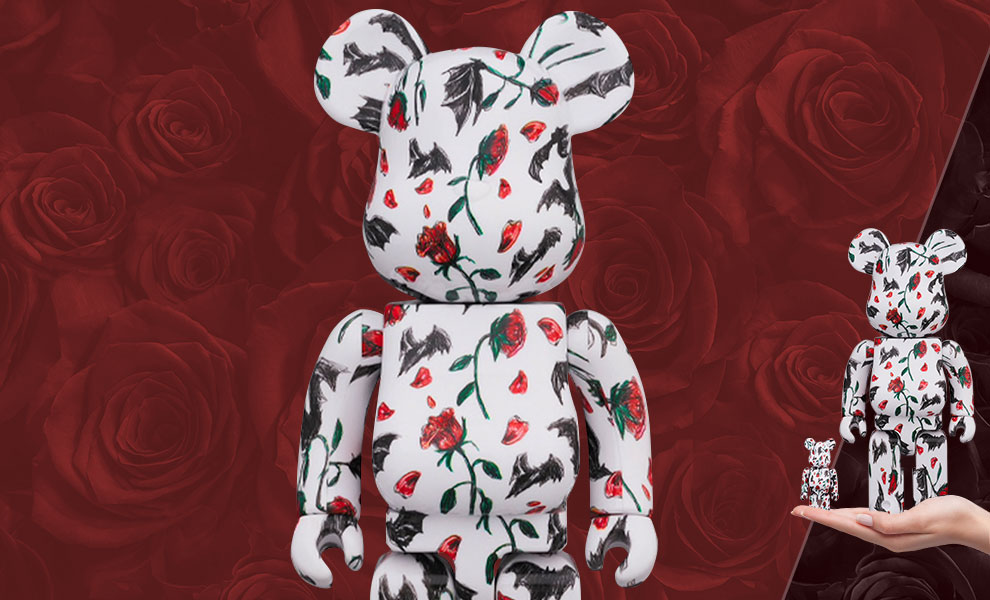 Gallery Feature Image of Be@rbrick Kidill × Eri Wakiyama Bat & Rose White 100% & 400% Collectible Set - Click to open image gallery