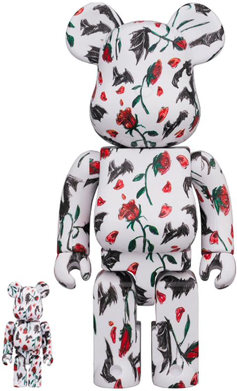 Medicom Toy Be@rbrick Kidill × Eri Wakiyama Bat & Rose White 100% & 400% Collectible Set