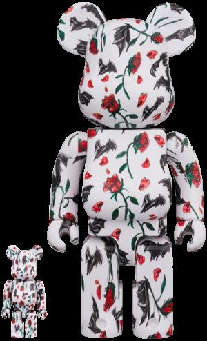 Be@rbrick Kidill × Eri Wakiyama Bat & Rose White 100% & 400% Collectible Set