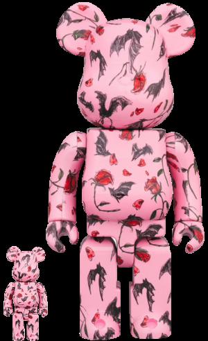 Be@rbrick Kidill × Eri Wakiyama Bat & Rose Pink 100% & 400% Collectible Set