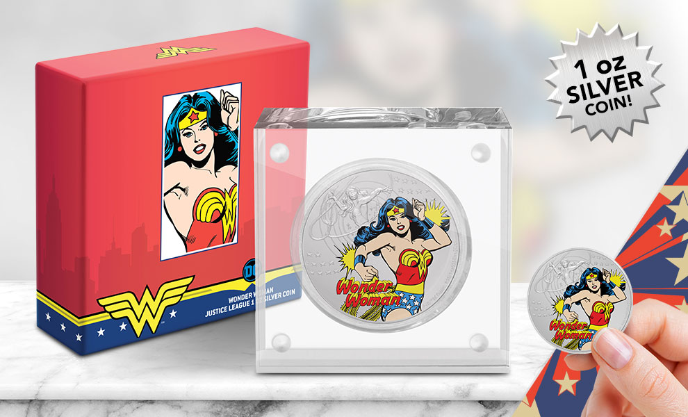 Gallery Feature Image of Wonder Woman Silver Coin Silver Collectible - Click to open image gallery