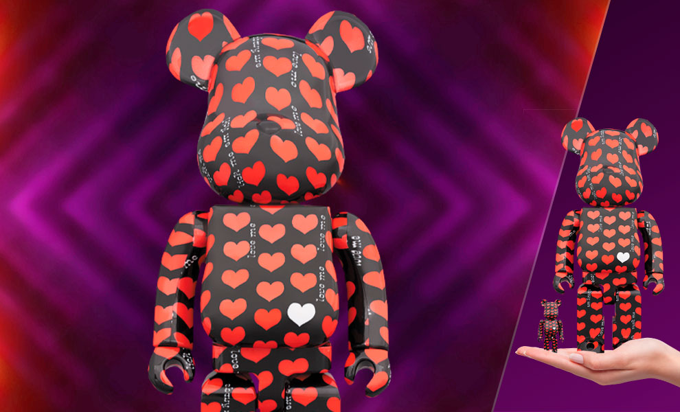 Gallery Feature Image of Be@rbrick Black Heart 100% & 400% Collectible Set - Click to open image gallery