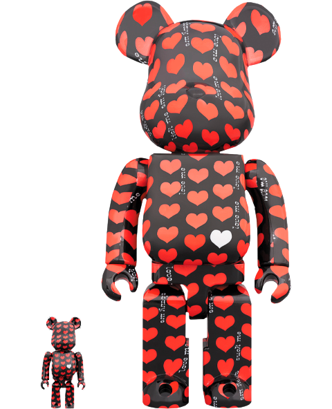 Medicom Toy Be@rbrick Black Heart 100% & 400% Collectible Set