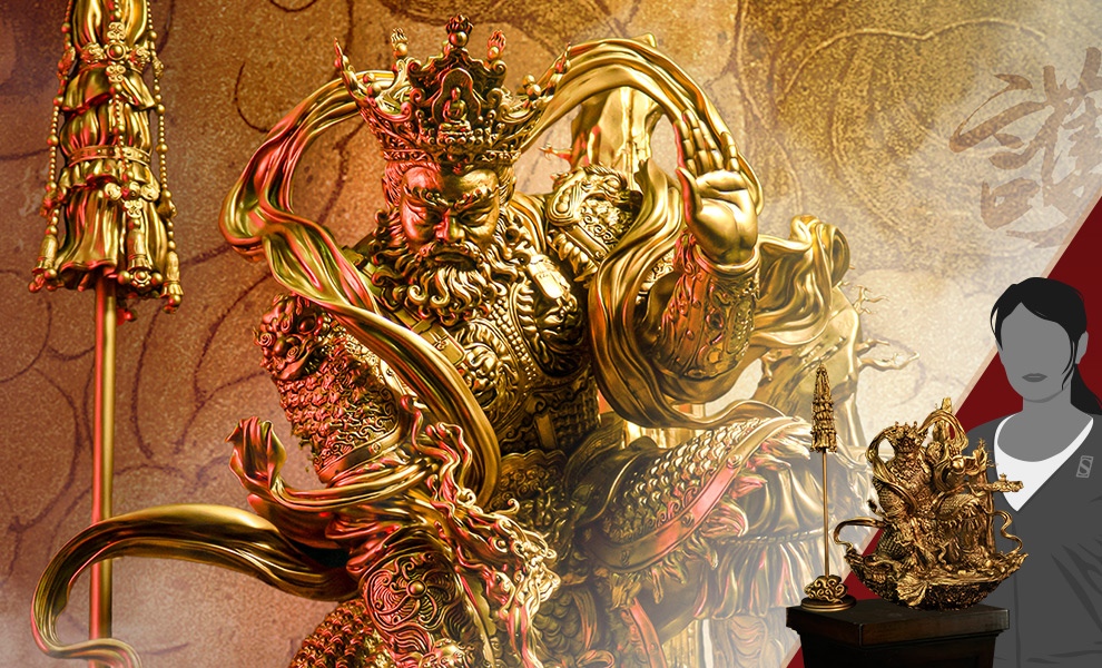 Gallery Feature Image of Guardian of Heaven Subdues the Evil Dragon (Gold) Statue - Click to open image gallery