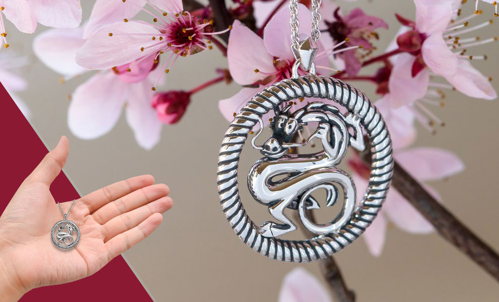 Gallery Feature Image of Mushu Medallion (Silver) Necklace Jewelry - Click to open image gallery