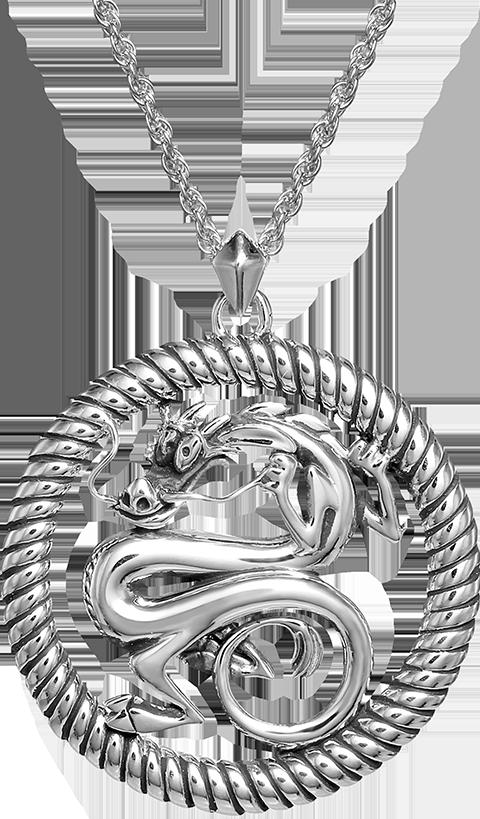 RockLove Mushu Medallion (Silver) Necklace Jewelry