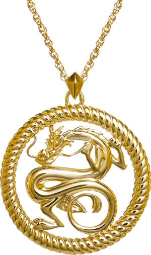 Mushu Medallion (Gold) Necklace Jewelry