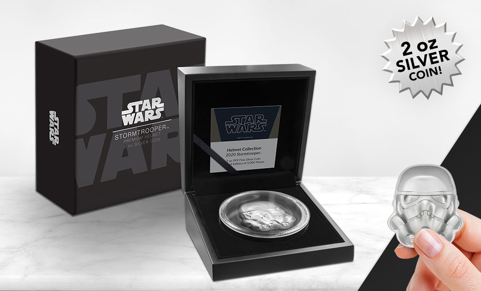 Gallery Feature Image of Stormtrooper Helmet Silver Coin Silver Collectible - Click to open image gallery