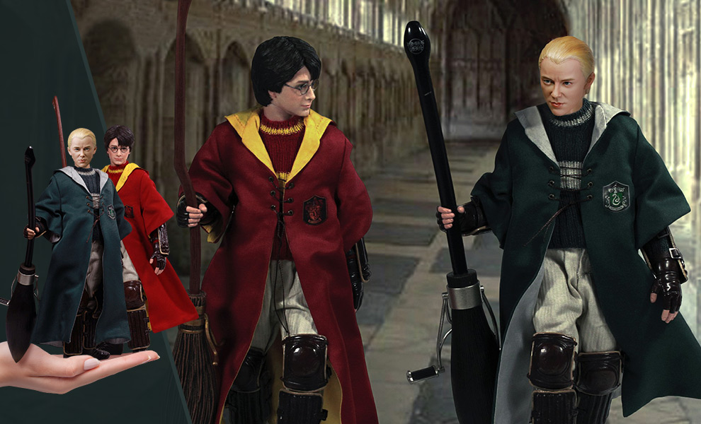 Gallery Feature Image of Harry Potter & Draco Malfoy 2.0 (Quidditch Twin Pack) Sixth Scale Figure Set - Click to open image gallery