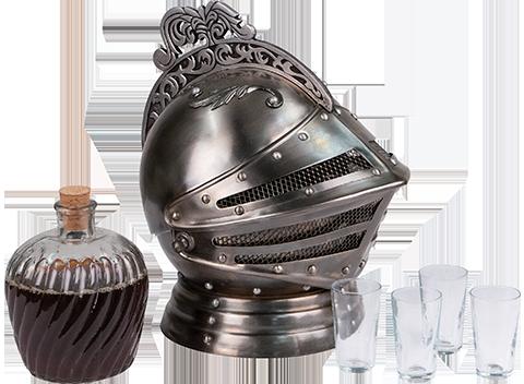 Museum Replicas Medieval Knights Helmet Decanter Set Collectible Drinkware