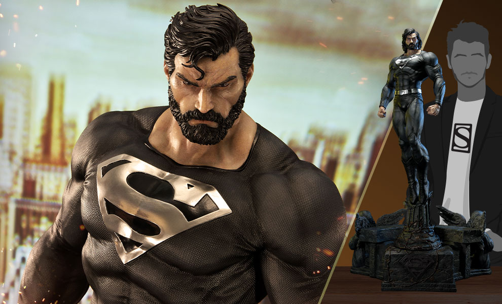 Gallery Feature Image of Superman (Black Version) 1:3 Scale Statue - Click to open image gallery