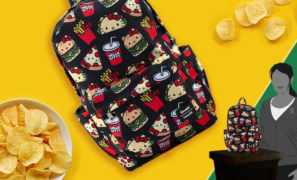 Gallery Feature Image of Hello Kitty Snacks AOP Backpack Apparel - Click to open image gallery