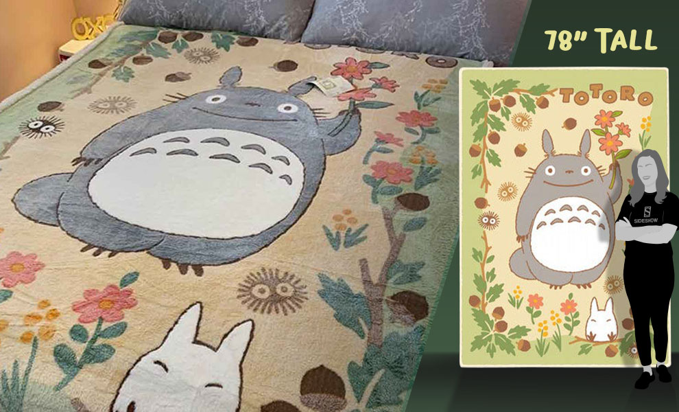 Gallery Feature Image of Totoro in the Sunny Forest Plush Blanket Blanket - Click to open image gallery