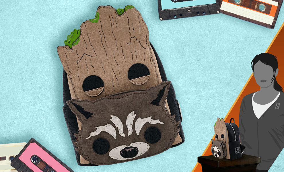 Gallery Feature Image of Groot and Rocket Cosplay Mini Backpack Apparel - Click to open image gallery