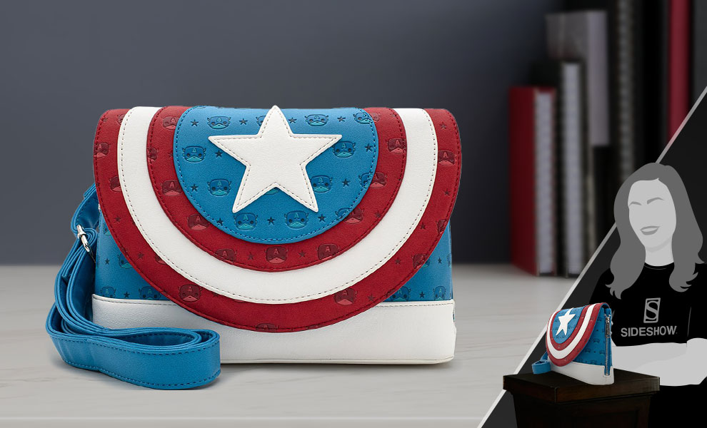 Gallery Feature Image of Captain America Shield Crossbody Apparel - Click to open image gallery