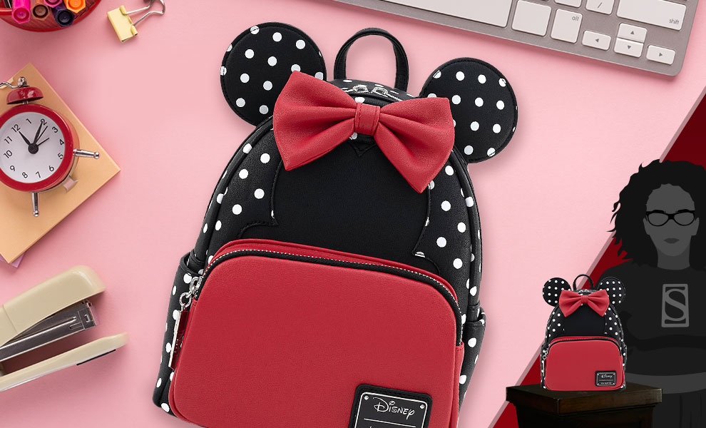 Gallery Feature Image of Minnie Mouse Black & White Polka Dot Mini Backpack Apparel - Click to open image gallery