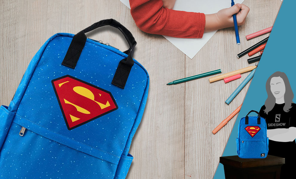 Gallery Feature Image of Superman Shield and Stars Backpack Apparel - Click to open image gallery