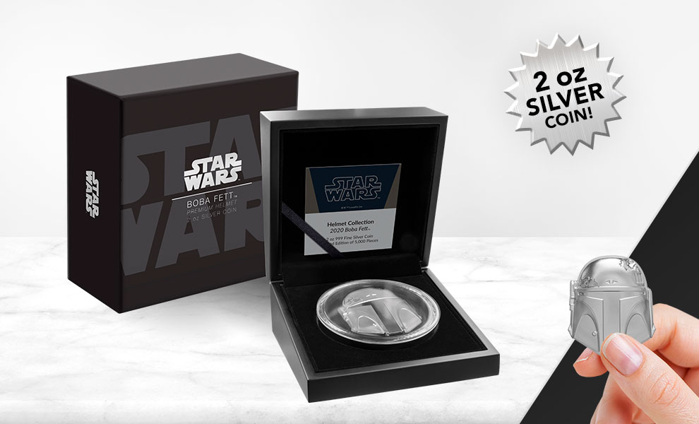 Gallery Feature Image of Boba Fett™ Helmet Silver Coin Silver Collectible - Click to open image gallery