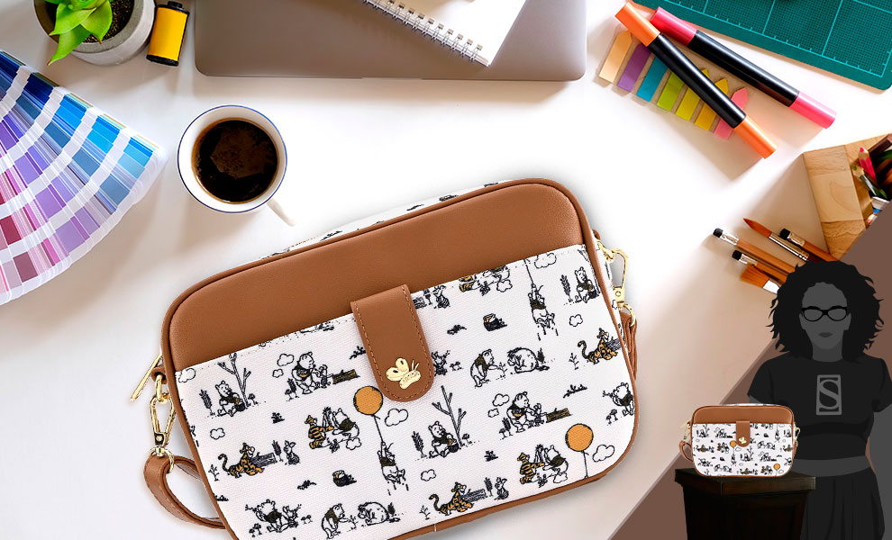 Gallery Feature Image of Winnie the Pooh Line Drawing Crossbody Apparel - Click to open image gallery