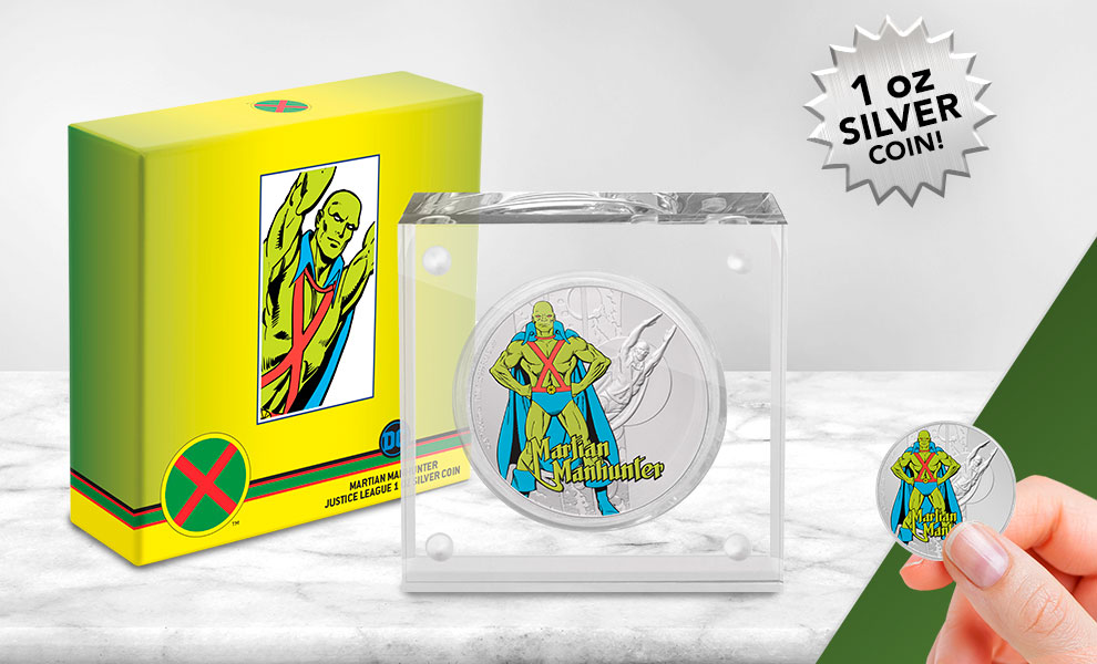 Gallery Feature Image of Martian Manhunter 1oz Silver Coin Silver Collectible - Click to open image gallery