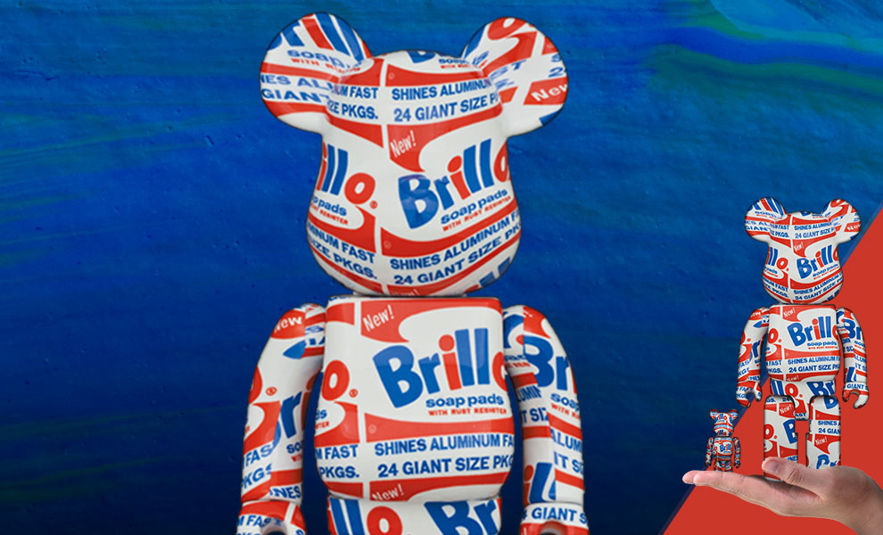 "Gallery Feature Image of Be@rbrick Andy Warhol ""Brillo"" 100% & 400% Collectible Set - Click to open image gallery"