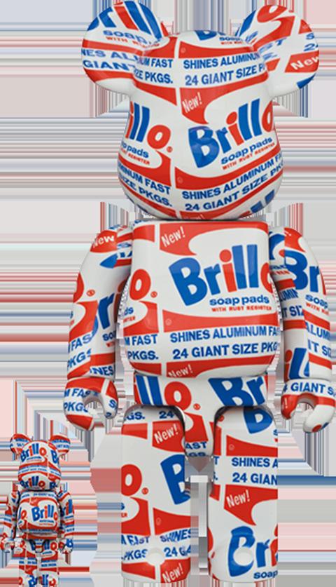 "Medicom Toy Be@rbrick Andy Warhol ""Brillo"" 100% & 400% Collectible Set"
