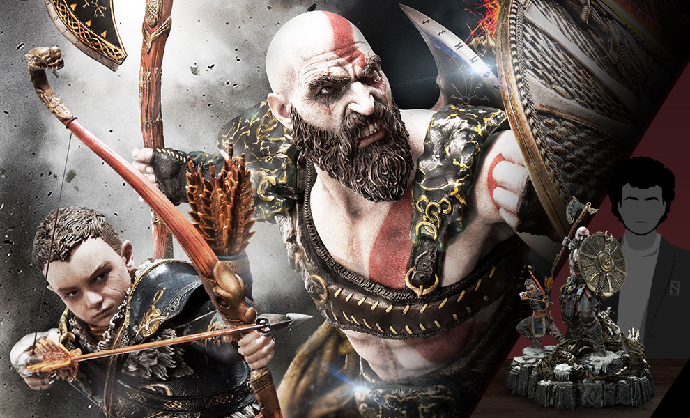 Gallery Feature Image of Kratos & Atreus Ivaldi's Deadly Mist Armor Set Statue - Click to open image gallery