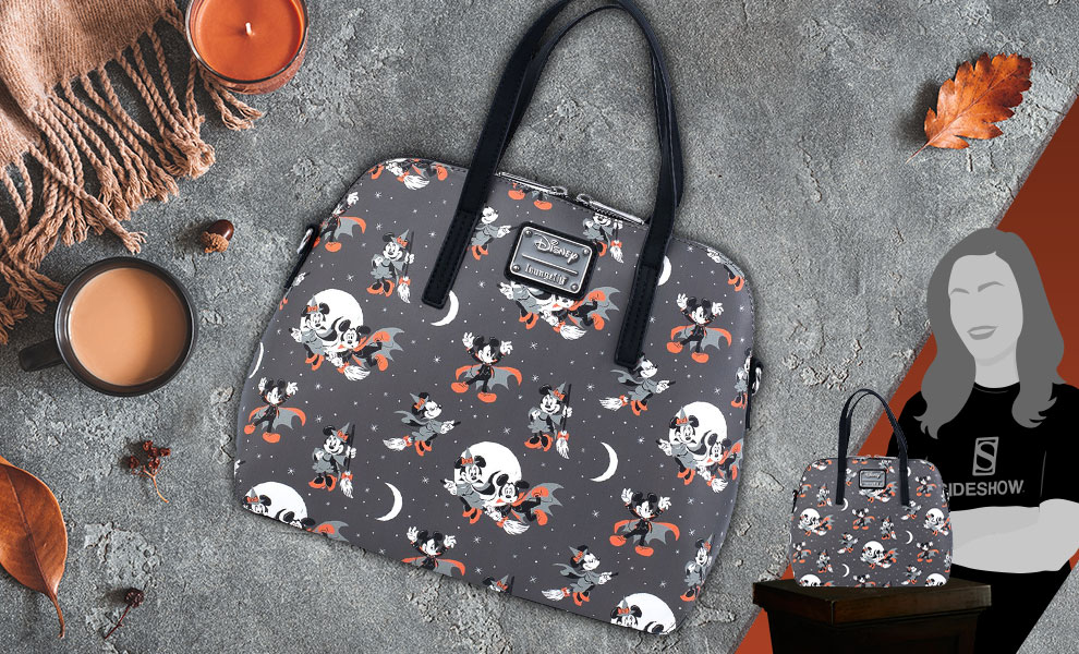 Gallery Feature Image of Mickey and Minnie Halloween AOP Crossbody Apparel - Click to open image gallery