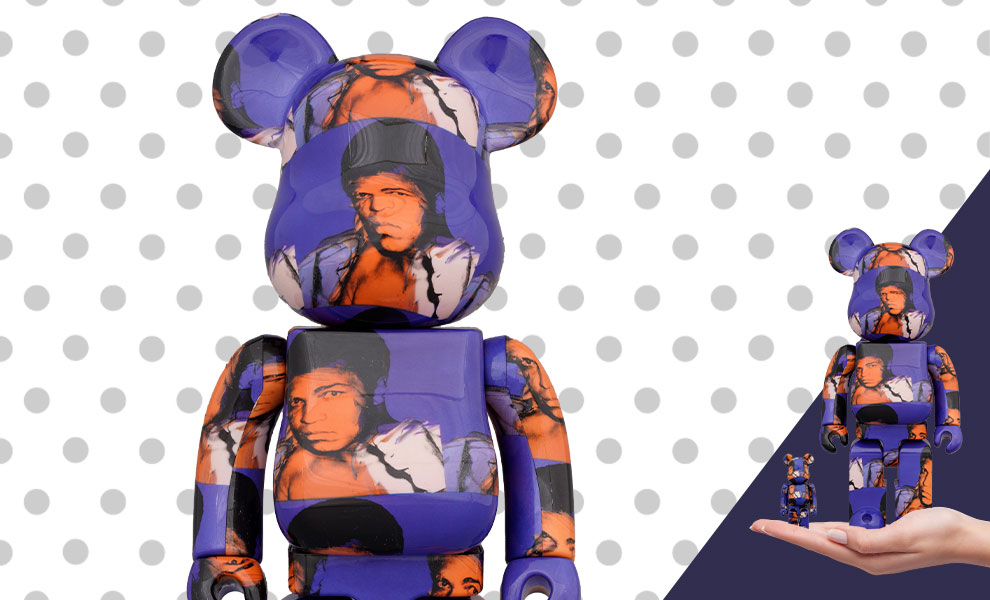 Gallery Feature Image of Be@rbrick Andy Warhol's Muhammad Ali 100% and 400% Collectible Set - Click to open image gallery