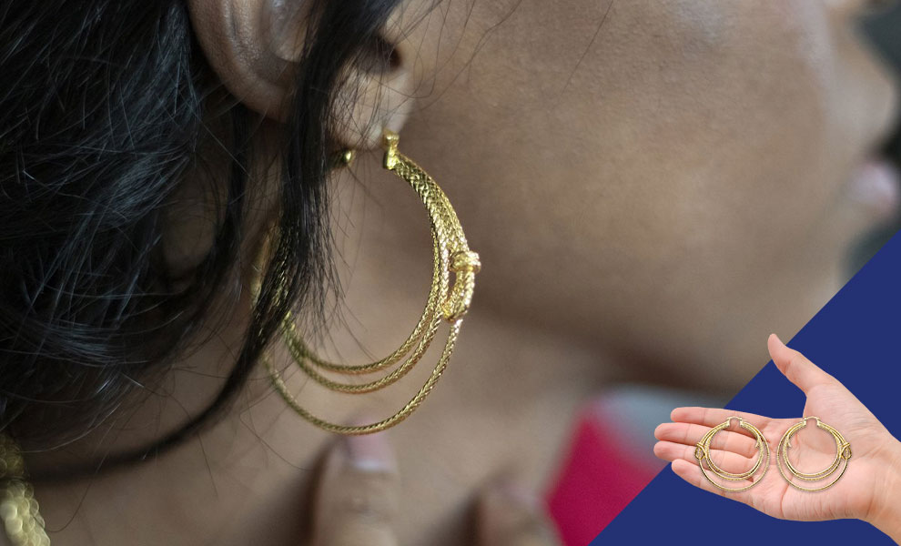 Gallery Feature Image of Wonder Woman Lasso Hoop Earrings (Gold) Jewelry - Click to open image gallery