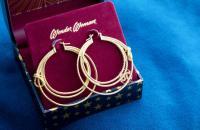 Gallery Image of Wonder Woman Lasso Hoop Earrings (Gold) Jewelry