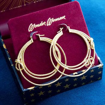 Wonder Woman Lasso Hoop Earrings (Gold) Jewelry