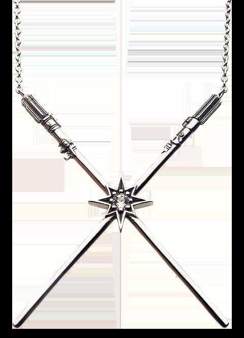 RockLove Luke Skywalker™ & Darth Vader™  Crossed Lightsaber Necklace Jewelry