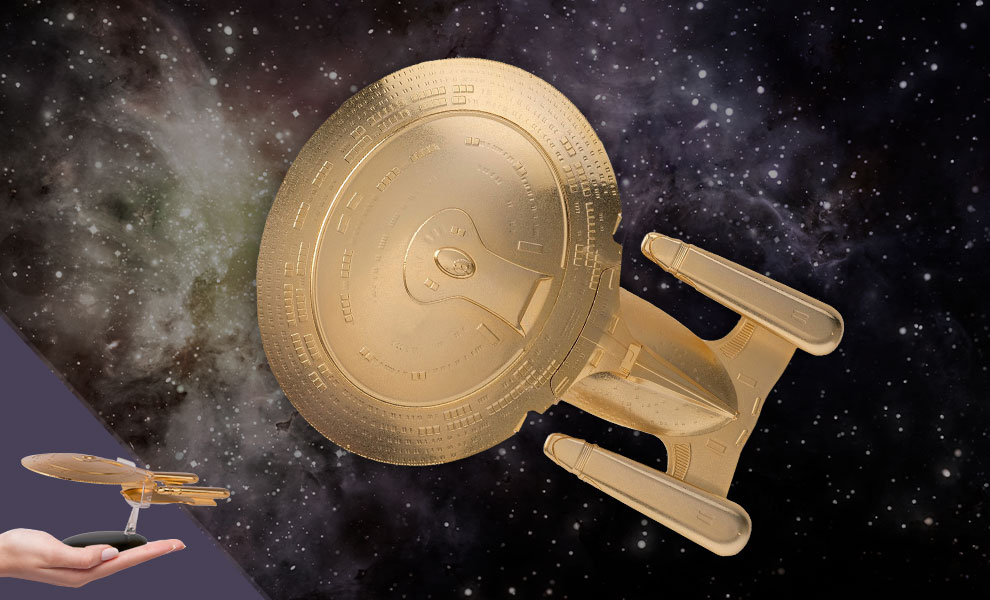 Gallery Feature Image of U.S.S. Enterprise NCC-1701-D (XL Gold) Model - Click to open image gallery