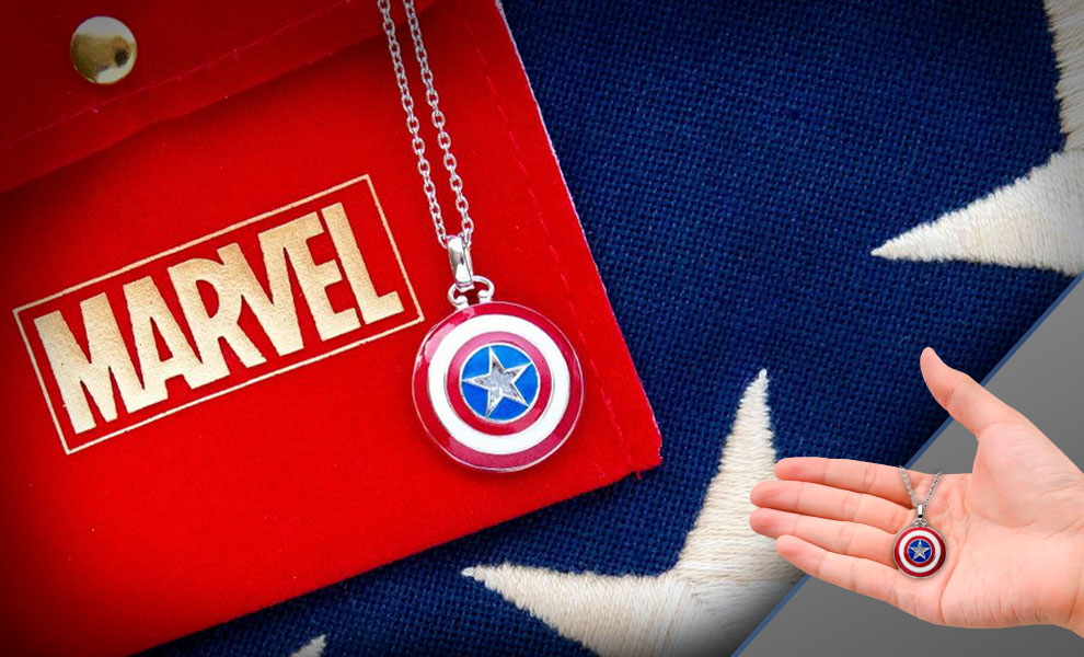 Gallery Feature Image of Captain America Shield Necklace Jewelry - Click to open image gallery