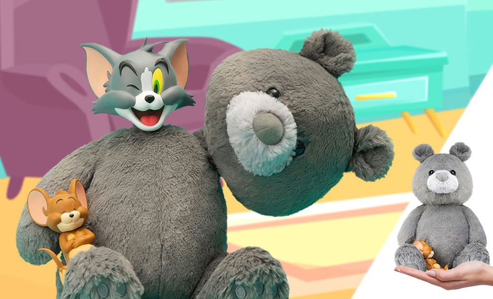 Gallery Feature Image of Tom and Jerry Plush Teddy Bear (Charcoal Gray) Collectible Figure - Click to open image gallery