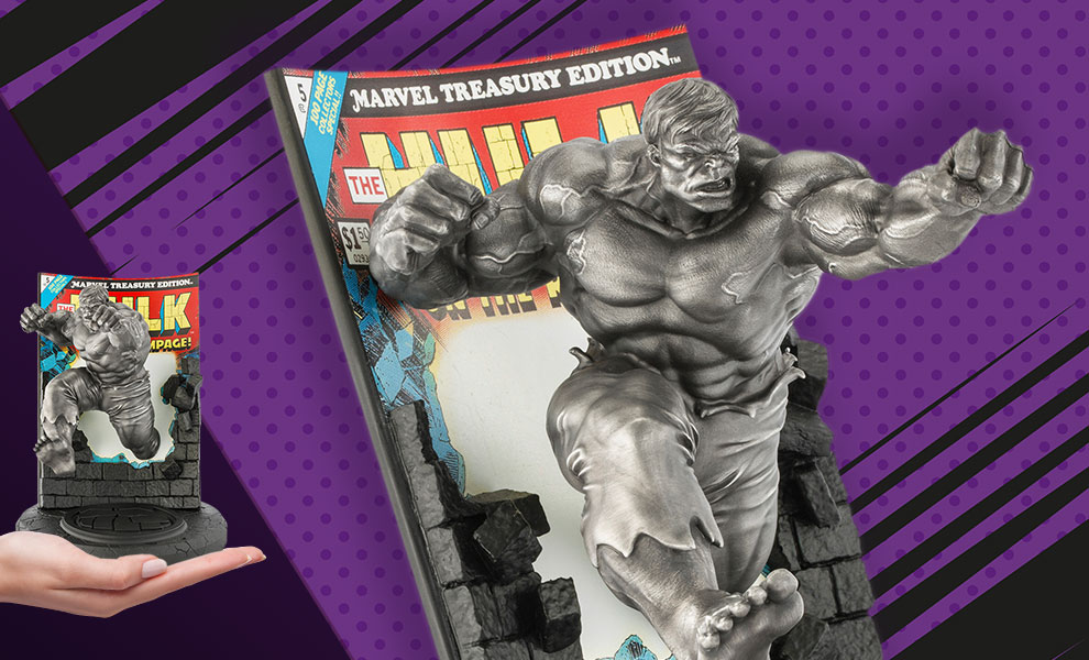 Gallery Feature Image of The Hulk Classic Cover (Satin) Pewter Collectible - Click to open image gallery