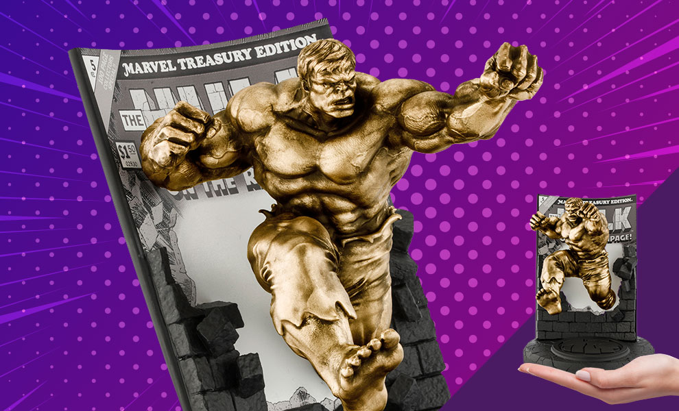 Gallery Feature Image of The Hulk Classic Cover (Gilt Edition) Pewter Collectible - Click to open image gallery