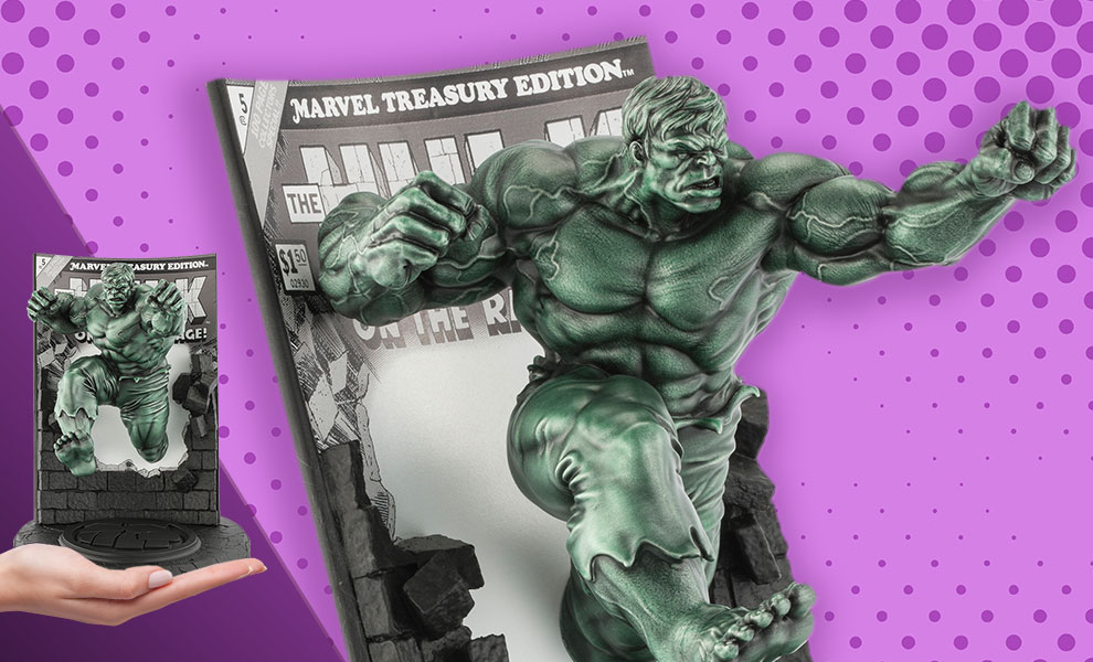 Gallery Feature Image of The Hulk Classic Cover (Green Edition) Pewter Collectible - Click to open image gallery