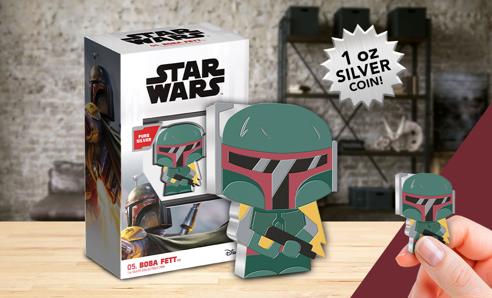 Gallery Feature Image of Boba Fett 1oz Silver Coin Silver Collectible - Click to open image gallery