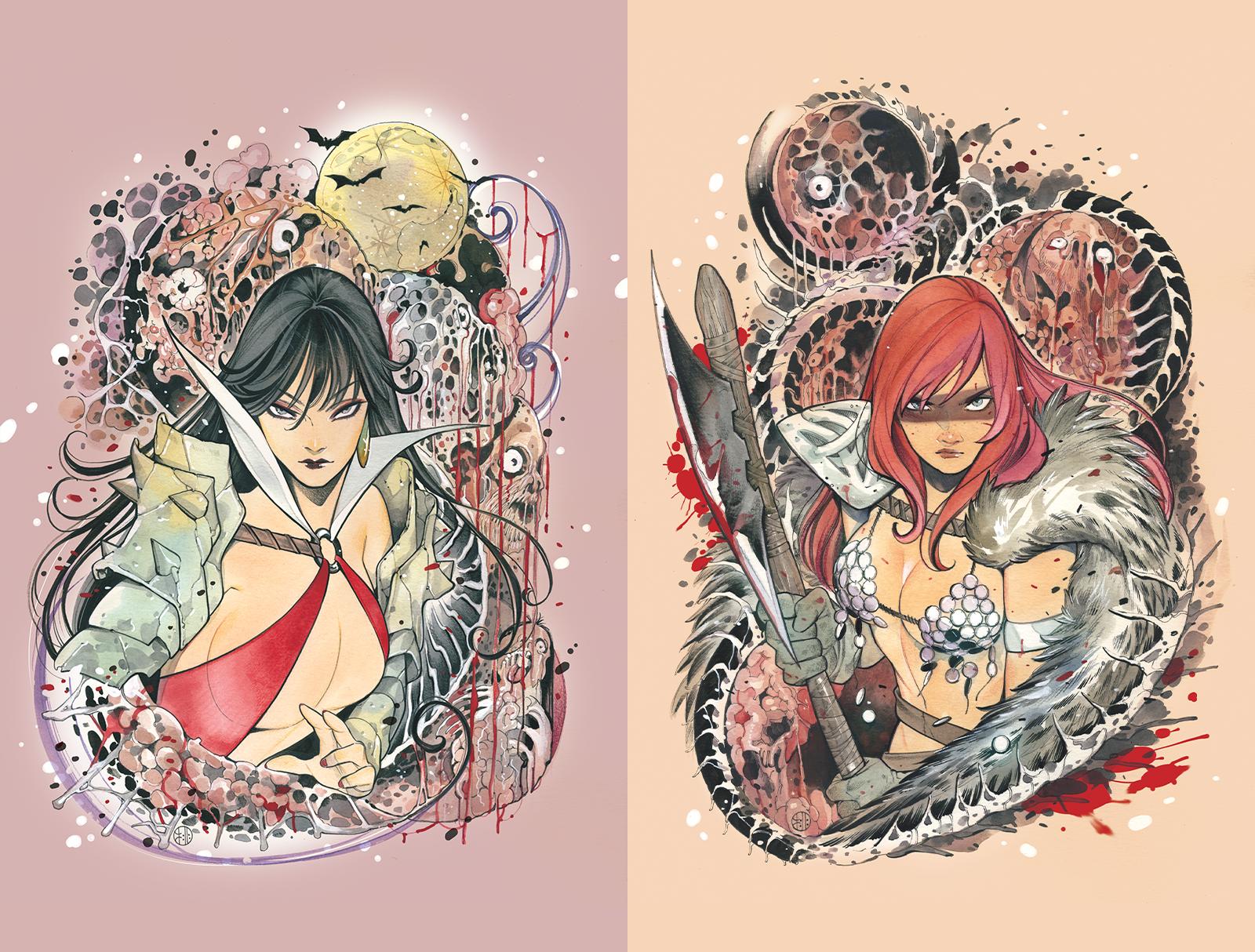 Dynamic Forces Die!namite #1 Red Sonja & Vampirella (Special Virgin Peach Momoko Covers) Book