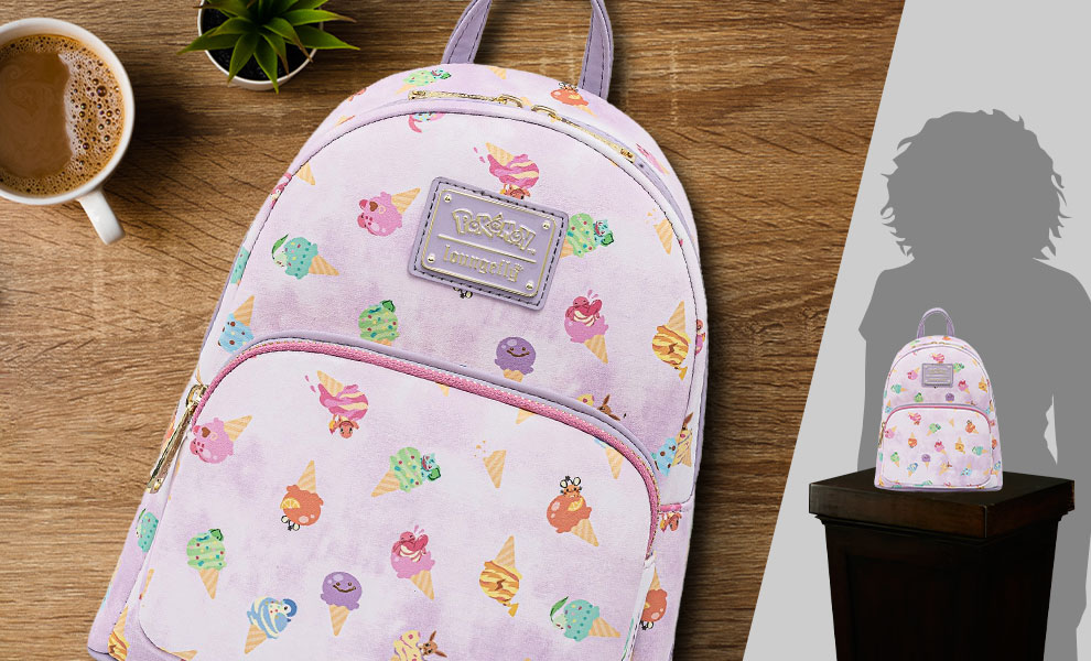 Gallery Feature Image of Pokémon Ice Cream Acid Wash Denim Mini Backpack Apparel - Click to open image gallery